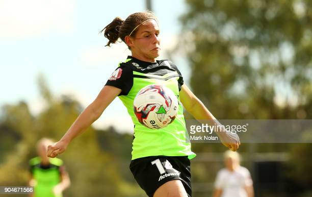 Ashleigh Sykes of Canberra in action during the round 11 WLeague match between Canberra United and the Western Sydney Wanderers at McKellar Park on...