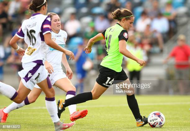 Ashleigh Sykes of Canberra in action during the round five WLeague match between Canberra United and Perth Glory at McKellar Park on November 25 2017...
