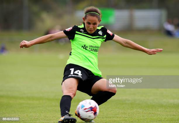 Ashleigh Sykes of Canberra in action during the round six WLeague match between Canberra United and the Brisbane Roar at McKellar Park on December 3...