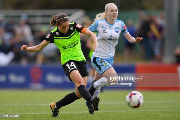 Ashleigh Sykes of Canberra shoots for goal during the round three WLeague match between Canberra United and Sydney FC at McKellar Park on November 12...