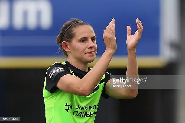 Ashleigh Sykes of Canberra United comes off the ground during the round seven WLeague match between Canberra and Brisbane at Central Coast Stadium on...