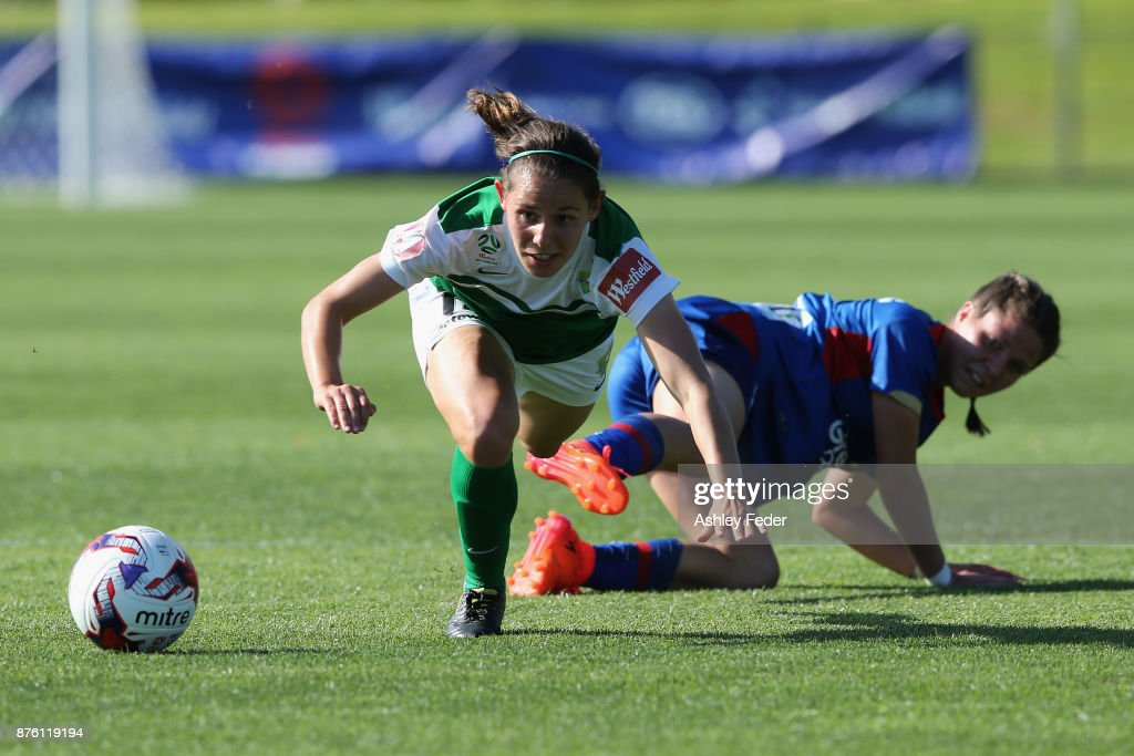 Ashleigh Sykes of Canberra United is tackled by Sophie Nenadovic of the Jets during the round four W-League match between Newcastle and Canberra on November 19, 2017 in Newcastle, Australia.