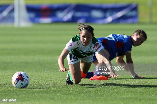 Ashleigh Sykes of Canberra United is tackled by Sophie Nenadovic of the Jets during the round four WLeague match between Newcastle and Canberra on...