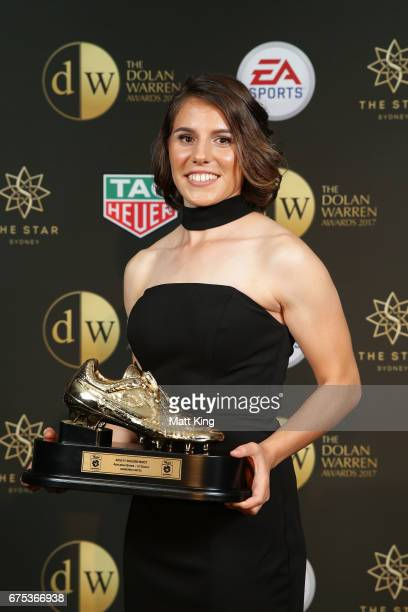 Ashleigh Sykes of Canberra United poses with the WLeague Golden Boot award during the FFA Dolan Warren Awards at The Star on May 1 2017 in Sydney...