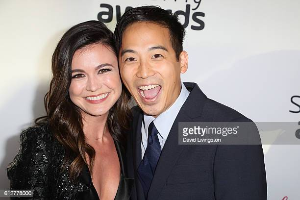 Ashley Adams and Jimmy Wong arrive at the 2016 Streamy Awards at The Beverly Hilton Hotel on October 4 2016 in Beverly Hills California