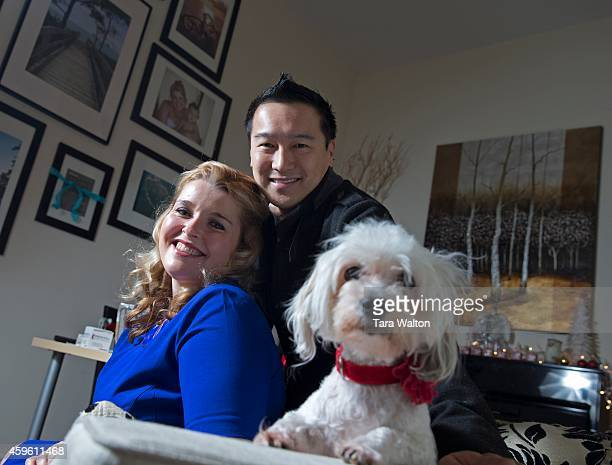 Ashley and Victor Kwong pose for a photo with their dog Roxy in their Markham home Tuesday November 25 2014 The couple is launching Memory Company a...