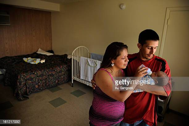 Ashley Anderson with her common law husband Jerry Martinez and their son onemonth old Daniel Martinez are living in a hotel Thursday May 10 on west...