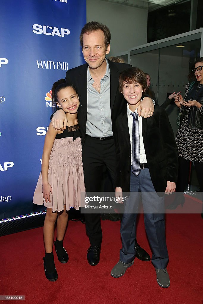 Ashley Aufderheide, Peter Sarsgaard and Owen Tanzer attend 'The Slap' New York Premiere Party at The New Museum on February 9, 2015 in New York City.
