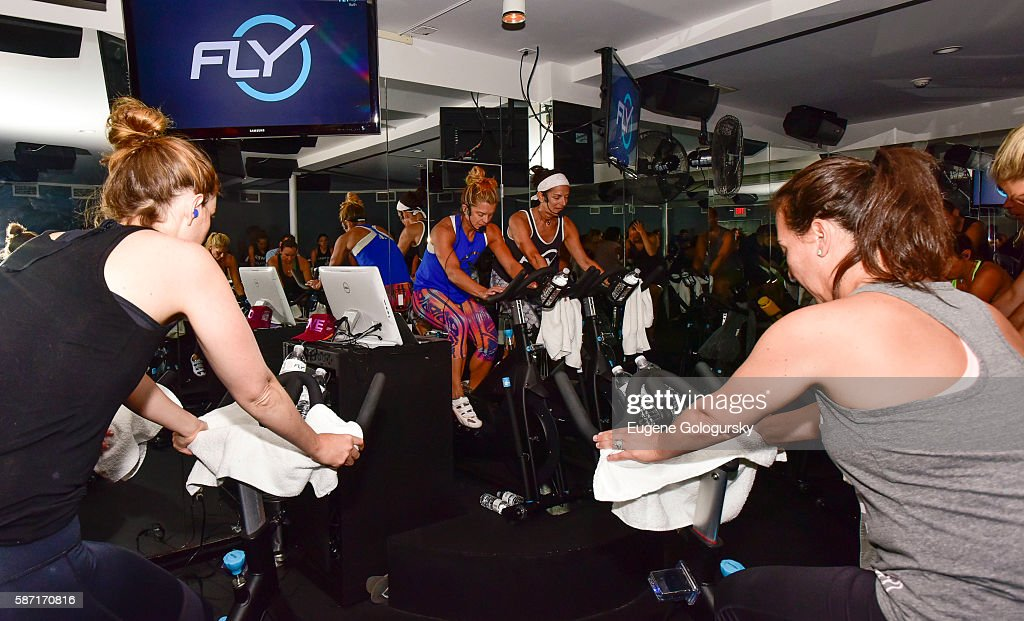 Flywheel VIP Ride With Special Guests Laird Hamilton And Gabrielle Reece Led By Ruth Zukerman And Holly Rilinger - 8.8.16, East Hampton, NY : News Photo