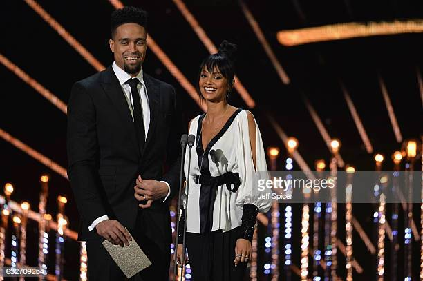 Ashley Banjo and Alesha Dixon on stage during the National Television Awards at The O2 Arena on January 25 2017 in London England