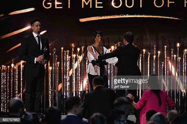 Ashley Banjo and Alesha Dixon present the Best Challenge Show award on stage during the National Television Awards at The O2 Arena on January 25 2017...