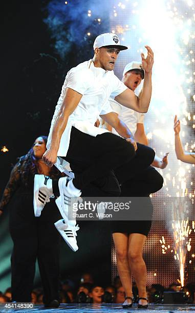 Ashley Banjo and 'Diversity' perform during the first live show of 2014's 'Got To Dance' at Earls Court on August 25 2014 in London England