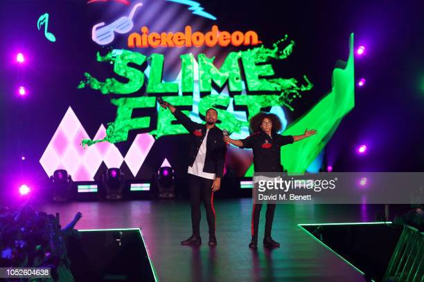 Ashley Banjo and Perri Kiely of Diversity perform at 'Nickelodeon SLIMEFEST' at Blackpool Pleasure Beach on October 20 2018 in Blackpool England...