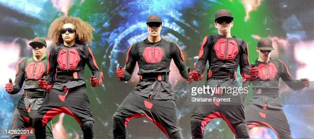 Ashley Banjo and Perri Luc Kiely of dance troupe Diversity perform at MEN Arena on April 9 2012 in Manchester England