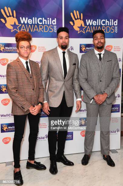 Ashley Banjo Jordan Banjo and Perri Kiely attend the annual WellChild awards at Royal Lancaster Hotel on October 16 2017 in London England