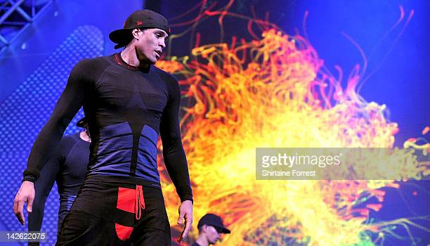 Ashley Banjo of dance troupe Diversity performs at MEN Arena on April 9 2012 in Manchester England