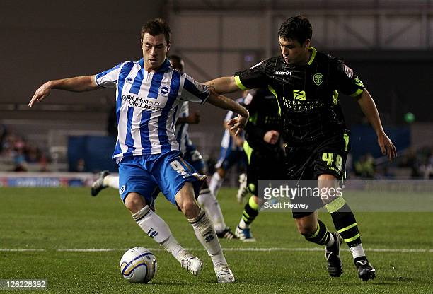 Ashley Barnes of Brighton evades Darren O'Dea of Leeds during the npower Championship match between Brighton and Hove Albion and Leeds United at Amex...