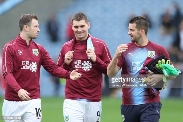 Ashley Barnes of Burnley and Sam Vokes of Burnley and Tom Heaton of Burnley during the Premier League match between Burnley FC and Watford FC at Turf...
