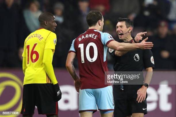 Ashley Barnes of Burnley argues with referee Lee Probert after a disallowed goal during the Premier League match between Burnley and Watford at Turf...