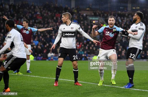 Ashley Barnes of Burnley celebrates after his team's second goal an own goal by Denis Odoi of Fulham during the Premier League match between Burnley...