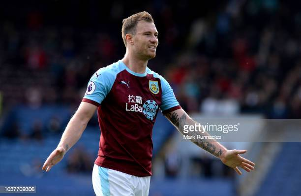 Ashley Barnes of Burnley celebrates after his team's victory in the Premier League match between Burnley FC and AFC Bournemouth at Turf Moor on...