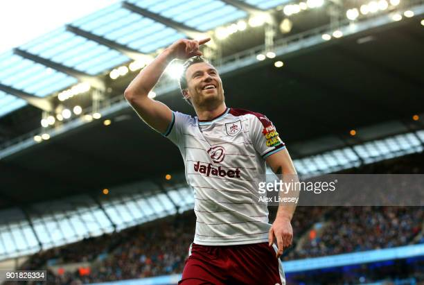 Ashley Barnes of Burnley celebrates after scoring his sides first goal during the The Emirates FA Cup Third Round match between Manchester City and...