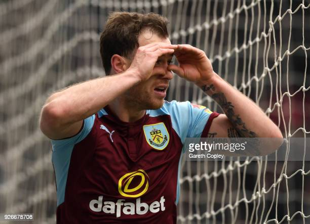 Ashley Barnes of Burnley celebrates after scoring his sides first goal during the Premier League match between Burnley and Everton at Turf Moor on...