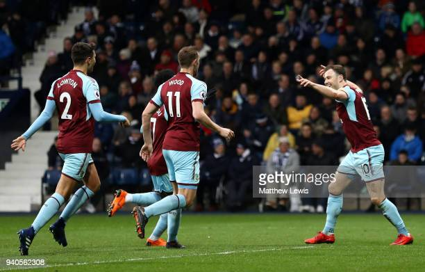 Ashley Barnes of Burnley celebrates after scoring his sides first goal during the Premier League match between West Bromwich Albion and Burnley at...