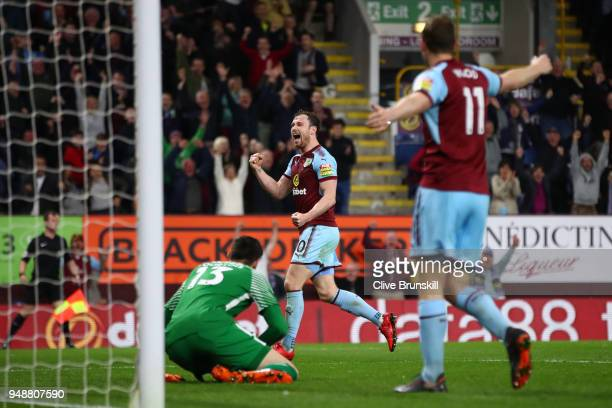 Ashley Barnes of Burnley celebrates after scoring his sides first goal during the Premier League match between Burnley and Chelsea at Turf Moor on...