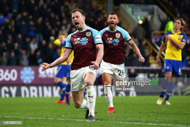 Ashley Barnes of Burnley celebrates after scoring his team's first goal during the Premier League match between Burnley FC and Southampton FC at Turf...