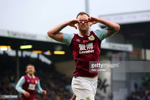 Ashley Barnes of Burnley celebrates after scoring his team's first goal during the Premier League match between Burnley FC and West Ham United at...