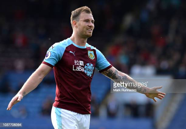 Ashley Barnes of Burnley celebrates after scoring his team's fourth goal during the Premier League match between Burnley FC and AFC Bournemouth at...