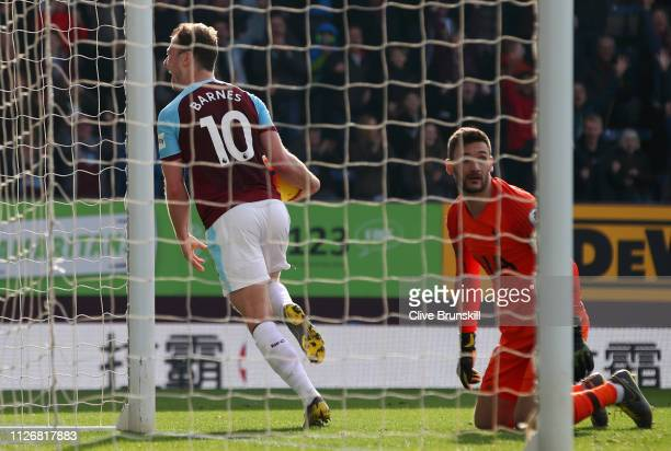 Ashley Barnes of Burnley celebrates after scoring his team's second goal during the Premier League match between Burnley FC and Tottenham Hotspur at...