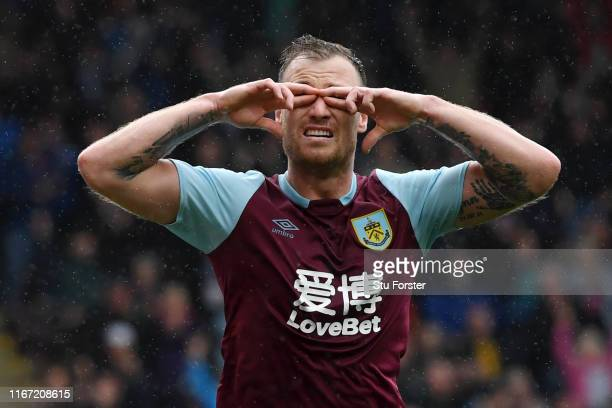 Ashley Barnes of Burnley celebrates after scoring his team's second goal during the Premier League match between Burnley FC and Southampton FC at...
