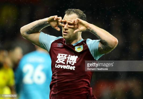 Ashley Barnes of Burnley celebrates after scoring his team's second goal during the Premier League match between Watford FC and Burnley FC at...