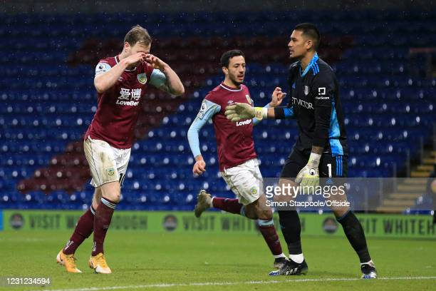 Ashley Barnes of Burnley celebrates after scoring their 1st goal during the Premier League match between Burnley and Fulham at Turf Moor on February...