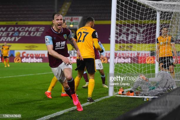 Ashley Barnes of Burnley celebrates after scoring their team's first goal during the Premier League match between Burnley and Wolverhampton Wanderers...
