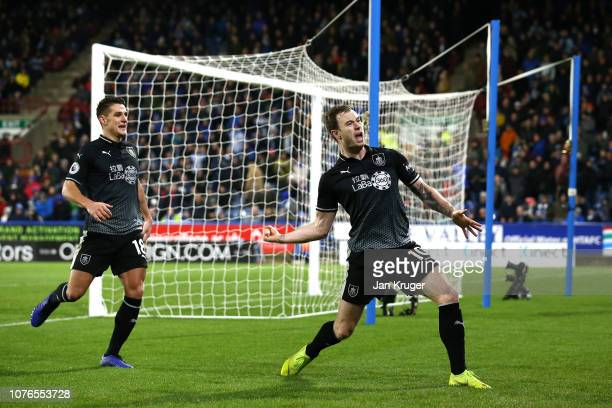 Ashley Barnes of Burnley celebrates after scroing his sides second goal during the Premier League match between Huddersfield Town and Burnley FC at...