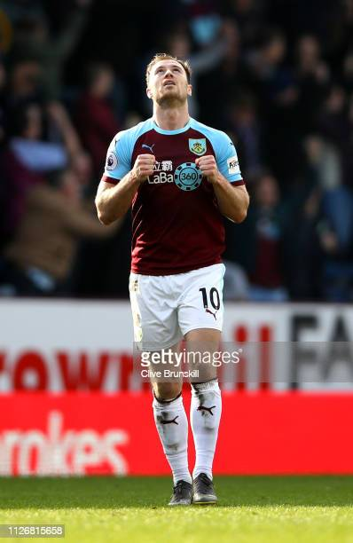 Ashley Barnes of Burnley celebrates following the Premier League match between Burnley FC and Tottenham Hotspur at Turf Moor on February 23 2019 in...