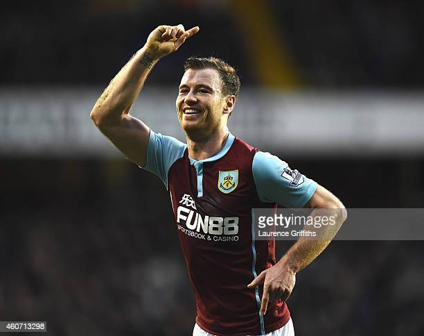 Ashley Barnes of Burnley celebrates his goal during the Barclays Premier League match between Tottenham Hotspur and Burnley at White Hart Lane on...