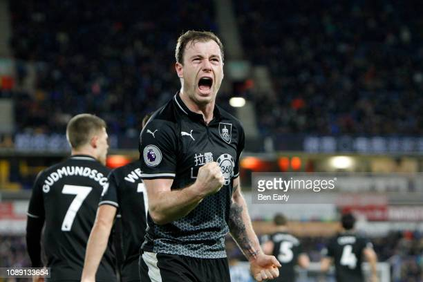 Ashley Barnes of Burnley celebrates his goal to take the lead during the Premier League match between Huddersfield Town and Burnley FC at John...