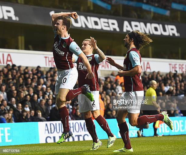 Ashley Barnes of Burnley celebrates his goal with team mates during the Barclays Premier League match between Tottenham Hotspur and Burnley at White...