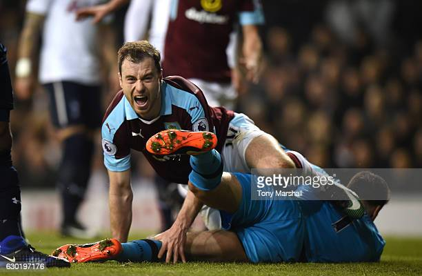 Ashley Barnes of Burnley celebrates scoring his sides first goal during the Premier League match between Tottenham Hotspur and Burnley at White Hart...