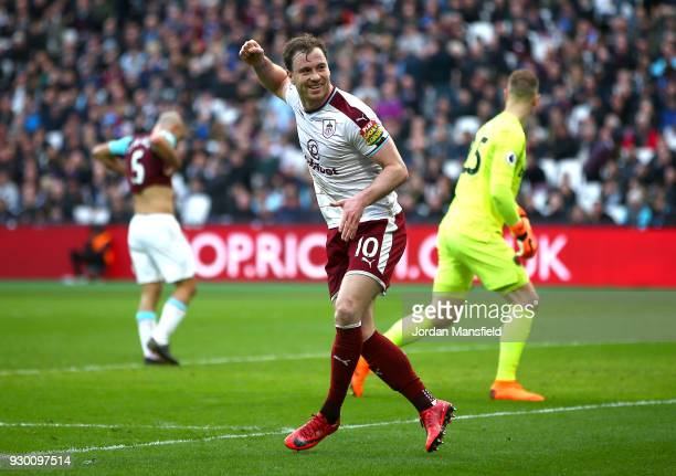 Ashley Barnes of Burnley celebrates scoring his side's first goal during the Premier League match between West Ham United and Burnley at London...