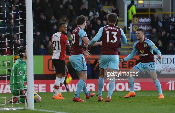 Ashley Barnes of Burnley celebrates scoring his side's first goal with team mates during the Premier League match between Burnley and Southampton at...