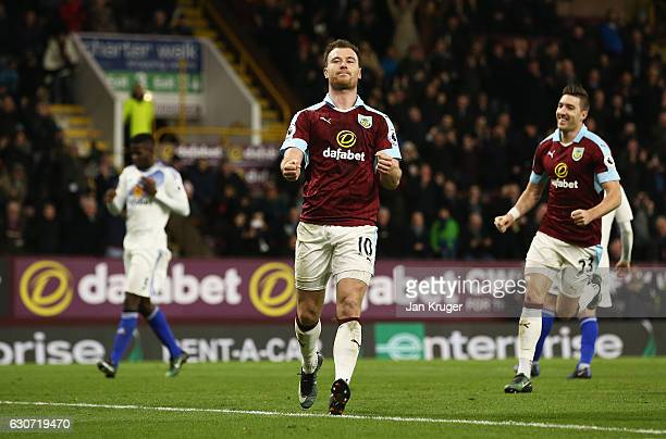 Ashley Barnes of Burnley celebrates scoring his side's fourth goal from the penalty spot during the Premier League match between Burnley and...