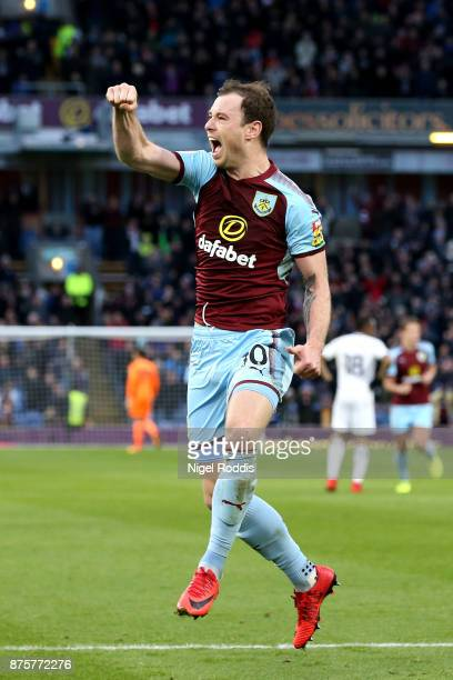 Ashley Barnes of Burnley celebrates scoring his side's second goal during the Premier League match between Burnley and Swansea City at Turf Moor on...