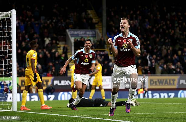 Ashley Barnes of Burnley celebrates scoring his sides third goal during the Premier League match between Burnley and Crystal Palace at Turf Moor on...