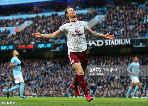 Ashley Barnes of Burnley celebrates scoring the first goal during the The Emirates FA Cup Third Round match between Manchester City and Burnley at...