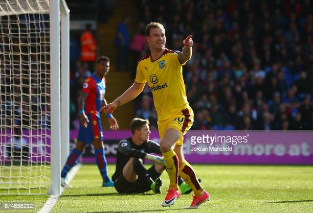 Ashley Barnes of Burnley celebrates scoring the opening goal during the Premier League match between Crystal Palace and Burnley at Selhurst Park on...